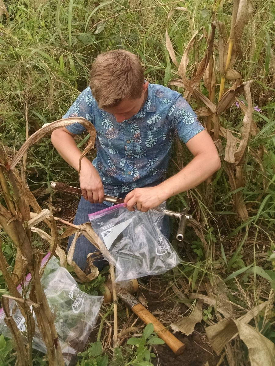 Steven Doyle, collecting soil samples