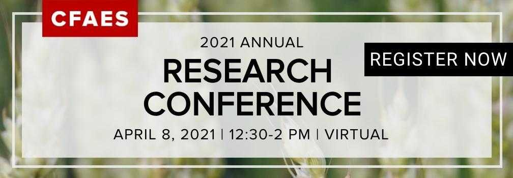 Research Conference image, to be held on 4/8/21 virtually from 12:30-2:00 PM. Click to register.