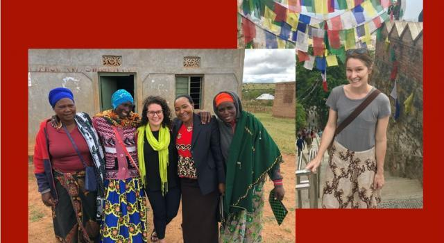 Dr. Rodriguez with women in Tanzania; Dr. Bevis in Kathmandu, Nepal