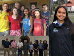 Dr. Greene with students at HTH project (above), and with OSU delegation at Zamorano (below). Instructor Jaelene Loor Suche.